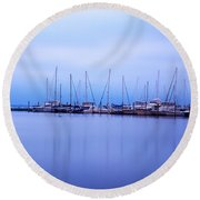 Brewer Yacht Yard At Cowesett Rhode Island Round Beach Towel