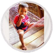Bribri Indian Child In A Hammock Round Beach Towel