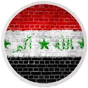 Brick Wall Iraq Round Beach Towel