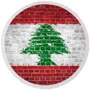 Brick Wall Lebanon Round Beach Towel