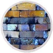 Brick Wall Of A Pottery Kiln Round Beach Towel