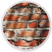 Brick Wall Shadows Round Beach Towel