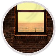 Brick Window Sea View Round Beach Towel