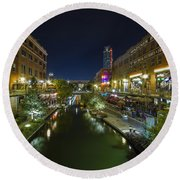 Bricktown Canal Vertical Round Beach Towel
