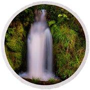 Bridal Dress. Waterfall At Benmore Botanical Garden. Nature Of Scotland Round Beach Towel