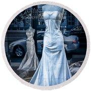 Bridal Dress Window Display In Ottawa Ontario Round Beach Towel