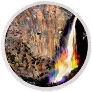 Bridalvail Falls Yosemite National Park Round Beach Towel