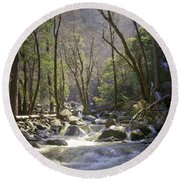 Bridalveil Falls Feeds A Marvelous Stream Round Beach Towel