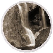 Bridalveil Falls In Yosemite Sepia Version Round Beach Towel