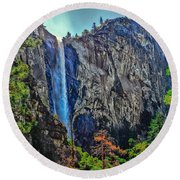 Bridalveil Falls In Yosemite Valley Round Beach Towel