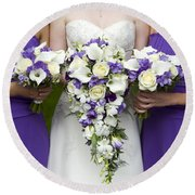 Bride And Bridesmaids With Wedding Bouquets Round Beach Towel