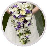 Bride And Wedding Bouquet Round Beach Towel