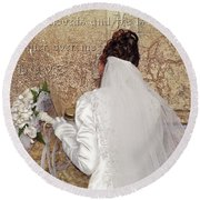 Bride At The Wall Round Beach Towel