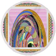 Bride In Layers Of Veils Accidental Discovery From Graphic Abstracts Made From Crystal Healing Stone Round Beach Towel