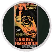 Bride Of Frankenstein Round Beach Towel