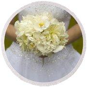 Bride With Wedding Bouquet Round Beach Towel