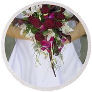 Brides Bouquet And Wedding Dress Round Beach Towel
