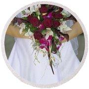 Brides Bouquet And Wedding Dress Round Beach Towel