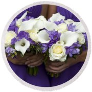Bridesmaids With Wedding Bouquets Round Beach Towel