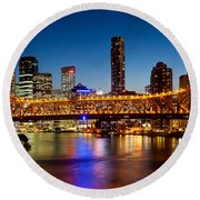 Bridge Across A River, Story Bridge Round Beach Towel