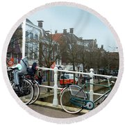 Bridge Across Canal - Amsterdam Round Beach Towel