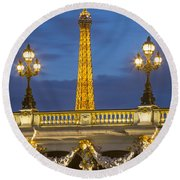 Bridge And Eiffel Round Beach Towel