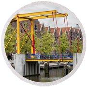 Bridge And Houses On Entrepotdok In Amsterdam Round Beach Towel
