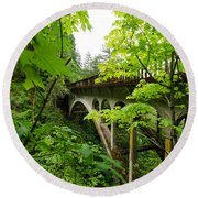 Bridge And Lush Vegetation Round Beach Towel