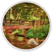 Bridge And Swan Round Beach Towel