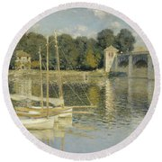 Bridge At Argenteuil Round Beach Towel