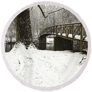 Bridge At Old Mine Park Round Beach Towel