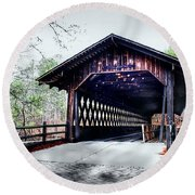 Bridge At Stone Mountain Round Beach Towel