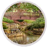 Bridge At Shelton Vineyards Round Beach Towel