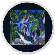 Bridge At Wiesen Round Beach Towel