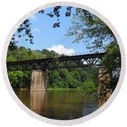 Bridge Crossing The Potomac River Round Beach Towel