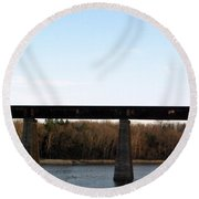 Bridge For The Train Over The Red River Round Beach Towel