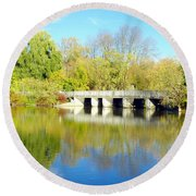 Bridge In A Park Round Beach Towel