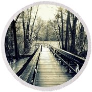 Bridge In The Wood Round Beach Towel