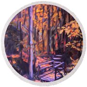 Bridge In Woods Near Pandapas Round Beach Towel