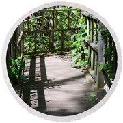 Bridge In Woods Round Beach Towel