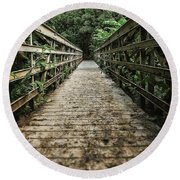 Bridge Leading Into The Bamboo Jungle Round Beach Towel