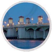 Bridge Of Lions At Dusk St Augustine Florida Round Beach Towel