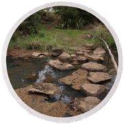 Bridge Of Rocks Across The River Round Beach Towel