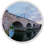 Bridge Of The River Thames At Chertsey Round Beach Towel