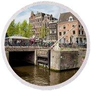 Bridge On Singel Canal In Amsterdam Round Beach Towel