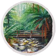 Bridge Over Badger Creek Round Beach Towel
