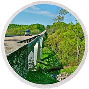 Bridge Over Birdsong Hollow At Mile 438 Of Natchez Trace Parkway-tennessee Round Beach Towel