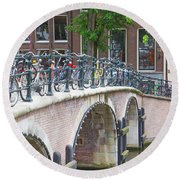 Bridge Over Canal With Bicycles  In Amsterdam Round Beach Towel