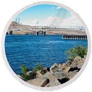 Bridge Over Columbia River At Umatilla-or  Round Beach Towel