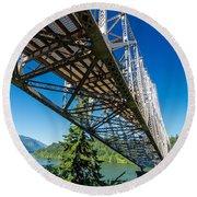 Bridge Over Columbia River Round Beach Towel